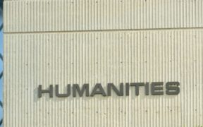 Humanities sign on building