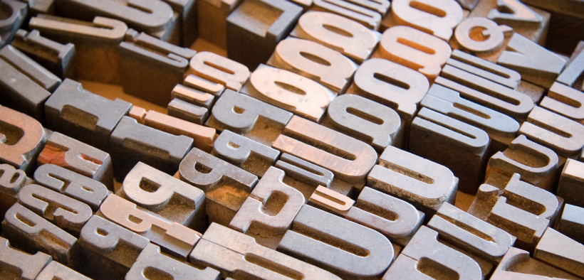 An array of Ps, Qs, and other letters for typesetting