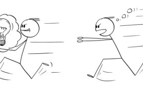 One stick figure runs away from another, carrying a thought bubble with a lightbulb inside. Symbolic of idea theft.